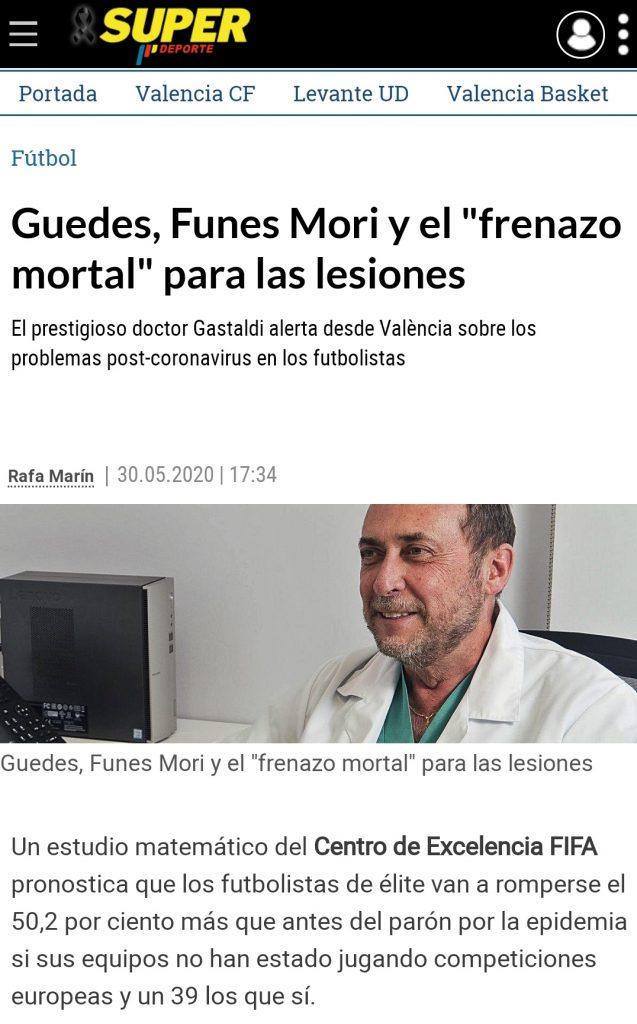 Publicación online de Superdeporte con la entrevista al doctor Enrique Gastaldi